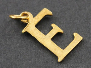 "Gold Vermeil Over Sterling Silver Letter ""E"" Initial Charm -- VM/2032/E - Beadspoint"