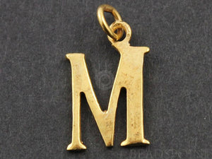 "Gold Vermeil Over Sterling Silver Letter ""M"" Initial Charm -- VM/2032/M"