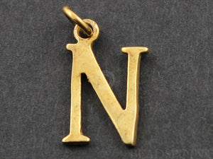 "Gold Vermeil Over Sterling Silver Letter ""N"" Initial Charm -- VM/2032/N"