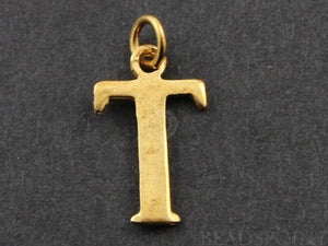 "Gold Vermeil Over Sterling Silver Letter ""T"" Initial Charm -- VM/2032/T"