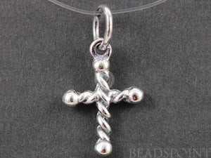 Sterling Silver Rope Patterned Cross Charm -- SS/CH1/CR32 - Beadspoint