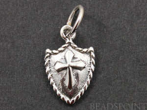 Sterling Silver Cross on Shield Charm  -- SS/CH1/CR35 - Beadspoint