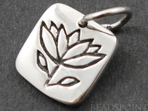 Sterling Silver Lotus in Square Charm-- SS/CH4/CR45 - Beadspoint