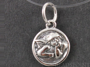 Sterling Silver Cupid in Circle Charm  -- SS/CH5/CR13 - Beadspoint