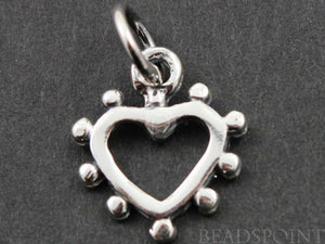 Sterling Silver Dotted Heart Charm   -- SS/CH8/CR23 - Beadspoint
