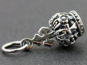 Sterling Silver Crown Charm -- SS/CH10/CR19