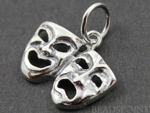 Sterling Silver Drama Mask Charm  -- SS/CH10/CR18 - Beadspoint