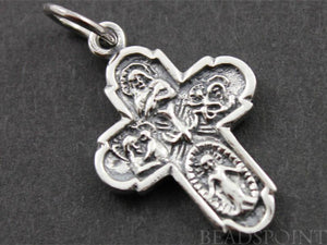 Sterling Silver Detailed Cross Charm  -- SS/CH20/CR10 - Beadspoint