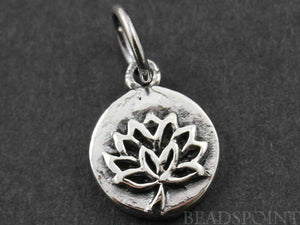 Sterling Silver Lotus Cutout on a Raised Circle Charm-- SS/CH4/CR56 - Beadspoint