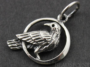 Sterling Silver Pigeon On the Moon Charm -- SS/CH6/CR33 - Beadspoint