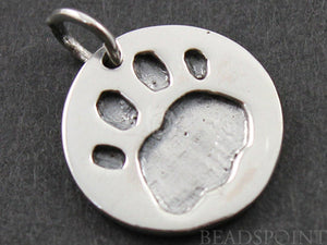 Sterling Silver Paw Print On a Raised Coin Charm -- SS/CH7/CR32 - Beadspoint
