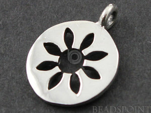 Sterling Silver Daisy Cut Out on a Disc Charm -- SS/CH4/CR47