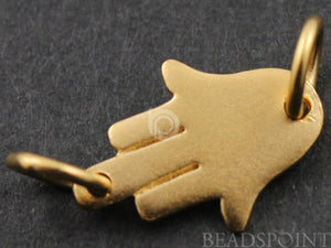 24K Gold Vermeil Over Sterling Silver Small Hamsa Charm  -- VM/CH2/CR34 - Beadspoint