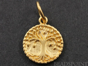 24K Gold Vermeil Over Sterling Silver Tree Charm  -- VM/CH4/CR43 - Beadspoint