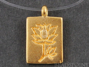 24K Gold Vermeil Over Sterling Silver Lotus in Rectangle Charm-- VM/CH4/CR44