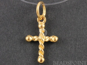 24K Gold Vermeil Over Sterling Silver Rope Patterned Cross Charm -- VM/CH1/CR32 - Beadspoint