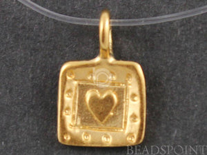 24K Gold Vermeil Over Sterling Silver Square Heart with Dotted Pattern Charm-- VM/CH8/CR24
