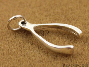 Sterling Silver Small Wish Bone Charm -- SS/CH5/CR6 - Beadspoint