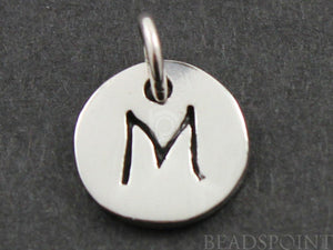 "Sterling Silver Initial ""M"" on a Disc Charm -- SS/2034/M - Beadspoint"