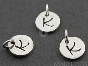 "Sterling Silver Initial ""K"" on a Disc Charm -- SS/2034/K - Beadspoint"
