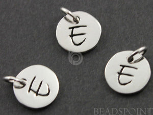 "Sterling Silver Initial ""E"" on a Disc Charm-- SS/2034/E - Beadspoint"