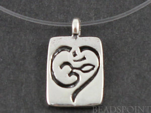 Sterling Silver Artisan OHM Square Charm -- SS/CH2/CR42 - Beadspoint