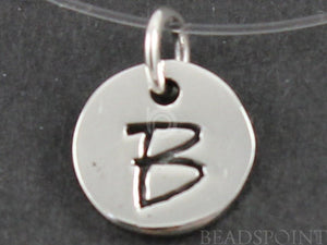 "Sterling Silver Initial ""B"" on a Disc Charm -- SS/2034/B - Beadspoint"