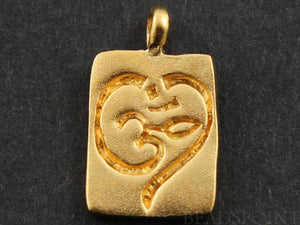 24K Gold Vermeil Over Sterling Silver OHM on a Square Charm -- VM/CH2/CR42 - Beadspoint
