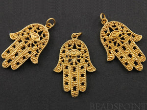 24K Gold Vermeil Over Sterling Silver Hamsa with Evil Eye Charm -- VM/CH2/CR43 - Beadspoint