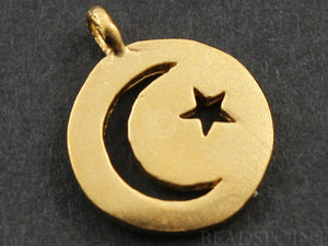 24K Gold Vermeil Over Sterling Silver Moon and Star Cut out on a Raised Coin Charm -- VM/CH5/CR18