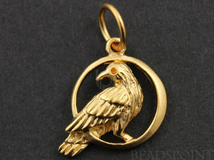 24K Gold Vermeil Over Sterling Silver Pigeon on the Moon Charm -- VM/CH6/CR33 - Beadspoint