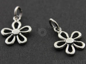 Sterling Silver 5 Petals Flower Charm -- SS/CH4/CR59 - Beadspoint