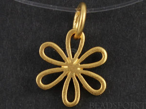 24K Gold Vermeil Over Sterling Silver Small 6 Petal Flower Charm-- VM/CH4/CR42 - Beadspoint