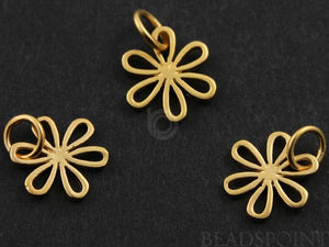 24K Gold Vermeil Over Sterling Silver Small 6 Petal Flower Charm-- VM/CH4/CR42