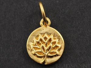 24K Gold Vermeil Over Sterling Silver Lotus Cutout on a Raised Circle Charm-- VM/CH4/CR56 - Beadspoint