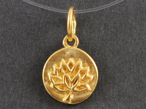 24K Gold Vermeil Over Sterling Silver Lotus Cutout on a Raised Circle Charm-- VM/CH4/CR56