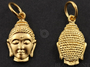 24K Gold Vermeil Over Sterling Silver Buddha Head Charm-- VM/CH2/CR14 - Beadspoint