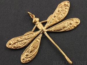 24K Gold Vermeil Over Sterling Silver Large Dragon Fly Charm -- VM/CH6/CR13