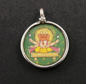 Sterling Silver Hand Painted Ganesha Charm -- TPCH001-D