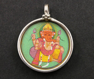 Sterling Silver Hand Painted Ganesha Charm -- TPCH001-H