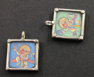 Sterling Silver Hand Painted Hanuman Charm -- TPCH001-C - Beadspoint
