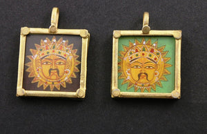 Gold Vermeil Over Sterling Silver Hand Painted Surya Charm -- VMTPCH001-SR - Beadspoint