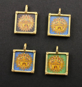 Gold Vermeil Over Sterling Silver Hand Painted Surya Charm -- VMTPCH001-SR
