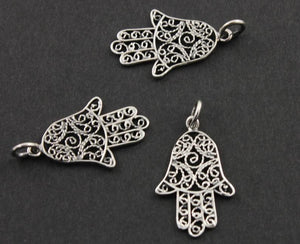 Sterling Silver Medium Detailed Hamsa Charm-- SS/CH2/CR45 - Beadspoint