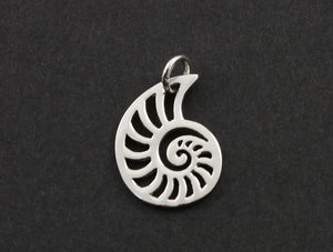 Sterling Silver Open Work Sea Shell Charm  -- SS/CH7/CR43 - Beadspoint
