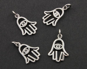 Sterling Silver Hamsa Charm with Evil Eye -- SS/CH2/CR48 - Beadspoint