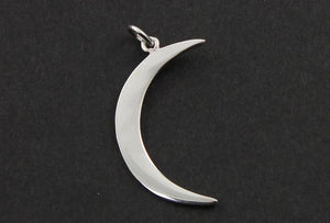 Sterling Silver Crescent Large Moon Charm -- SS/CH5/CR25 - Beadspoint
