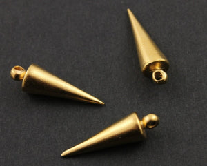 24K Gold Vermeil Over Sterling Silver Spike Charm  -- VM/CH7/CR39 - Beadspoint