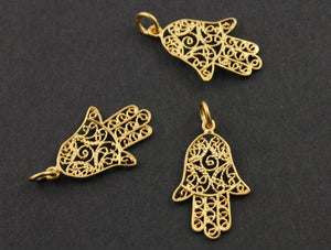 24K Gold Vermeil Over Sterling Silver Medium Detailed Hamsa Charm -- VM/CH2/CR45