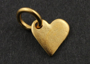 Gold Vermeil Over Sterling Silver Heart Charm -- VM/CH8/CR26 - Beadspoint